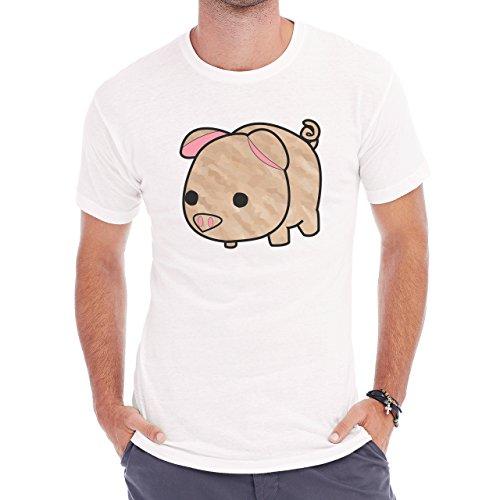 Pig Animal Farm Hog Brown Herren T-Shirt Weiß