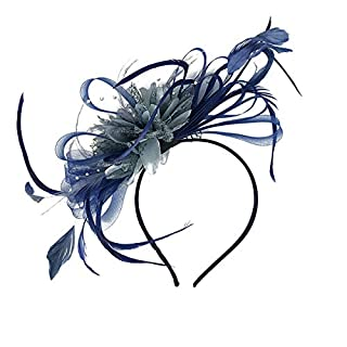 HotStyleZone Bespoke Feather Hair Fascinator Headband Hairband Wedding and Royal Ascot Races (Navy)