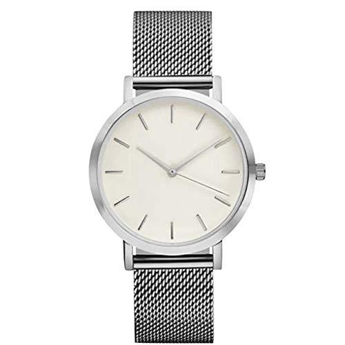 (KPILP Armbanduhr Frauen Männer Klassisch Luxusstahl Lässige Strap Quartz Uhren (Silberc))
