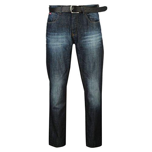 Lee Cooper Uomo Jeans Denim Pantaloni Cintura In PU Gamba Dritta 5 Tasche Indigo 36W R