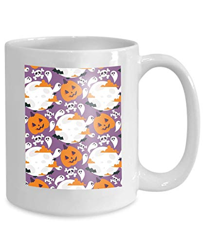 (mug coffee tea cup halloween carnival moon night ghost spooky october autumn fear creepy Psychedelic 110z)