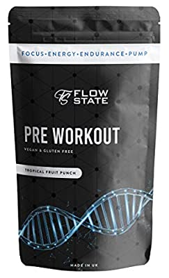 Flow State Pre Workout Energy Drink Powder Supplement - L-Citrulline 6g, Acetyl L-Tyrosine 2g, Alpha GPC 0.6g - ONLY Evidence Based Ingredients and Dosages - Min 20 Servings - No Crash or Tingles by Flow State Supplements