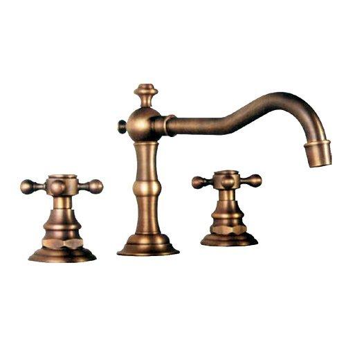 TOOGOO (R) Rubinetto bagno beccuccio largo con due maniglie con finitura in ottone antico