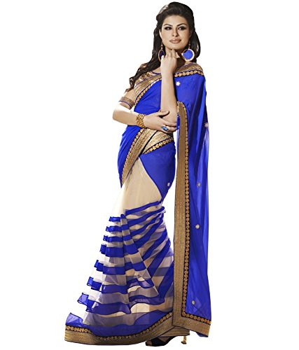 Ekvira Creations Blue Beige Georgette Net Blouse Piece Saree (Saree_Free Size_Ekvira Creations_Sari)  available at amazon for Rs.499