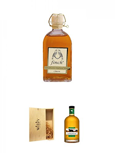 Finch Classic schwäbischer Whisky 0,5 Liter + 1a Whisky Holzbox für 2 Flaschen mit Schiebedeckel + Langatun Old - BEAR - Smokey 40 % Schweiz 0,5 Liter