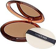 IsaDora Bronzpuder Makeup - Pressed Matte Bronzer Powder med Spegel och Puderpuff – Bronzing Matt Puder - Solp
