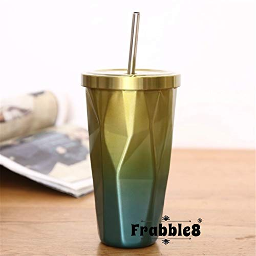 Frabble8 Double Wall 480ML Vacuum Insulated Travel Stainless Steel Flask Tumbler with Steel Straw and Lid Hot and Cold Sipper (Yellow)