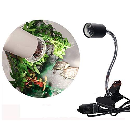 BABYS'q UVB Flexible Clamp-Lampe für Reptilien, einstellbare Temperatur-Beleuchtungsstandlicht, Wärmelampenstand-Befestigung mit Birne,Black,25W -