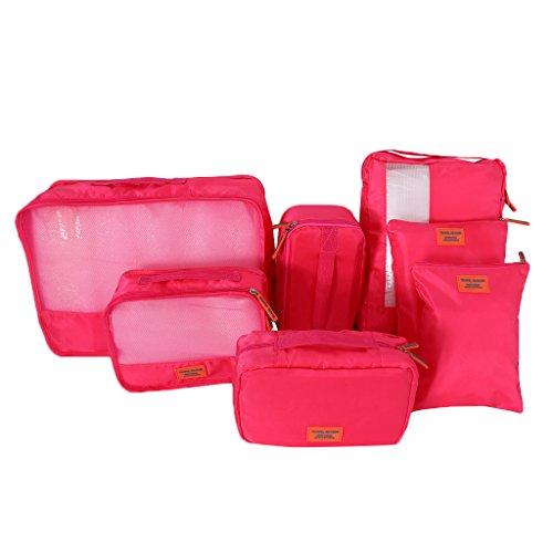 MagiDeal 7er Set Leichte Tasche Packwürfel Aufbewahrungstasche Wasserdichte Kleidertaschen Wäschebeutel Reiseorganizer Handgepäck Seesäcke - Rose rot