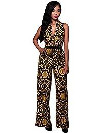 La Vogue Imprimé Combinaison Femme Col V Pantalon Large Ceinture