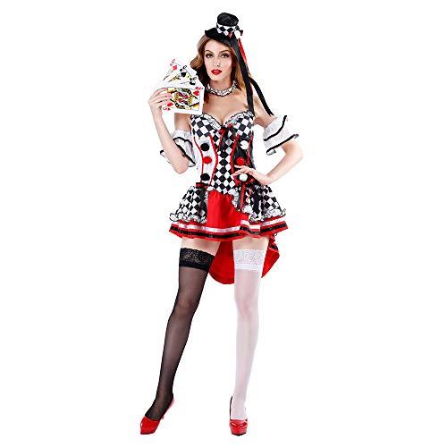 Kostüm Queen Kinder Red - HYMZP Kostüm Damen, Halloween Cosplay Für Erwachsene The Red Queen Sexy Kleid, Poker Girl Bühnenshow Clown Kostüm,XL