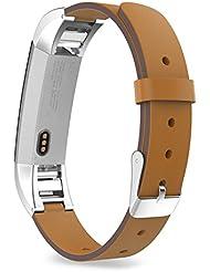 MoKo Fitbit Alta Correa - Reemplazo SmartWatch Band de Reloj Cuero Auténtico Imitado Pulsera Accesorios para Fitbit Alta Smart Fitness Tracker, Marrón