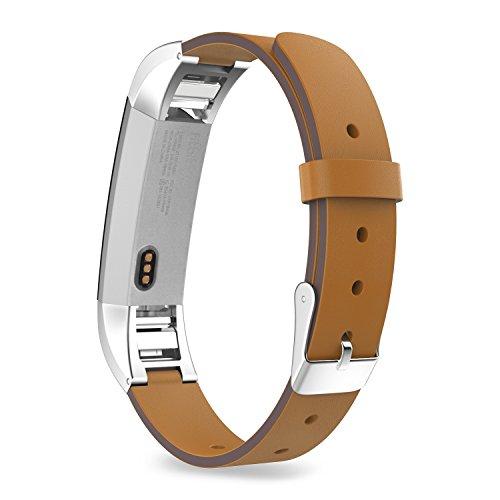 MoKo Armband für Fitbit Alta / Alta HR - Premium Soft Echt Leder Uhrenarmband Lederarmband Erstatzband Uhr Band Watchband mit Metallschließe für Fitbit Fitness Armband Alta, Braun