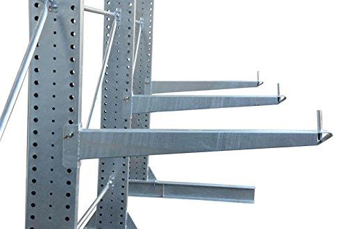 3,3m Kragarmregal verzinkt, 300cm hoch, 100cm tief, 3 Kragarmebenen – Langgutregal Schwerlastregal - 5