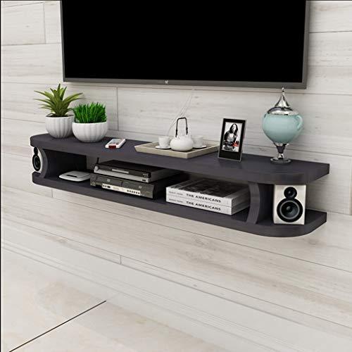 FENG-Schweberegale Floating Shelf Wand TV Cabinet Wall Hintergrund Ablageboden Offenes Regal mit Schublade für DVD Satellite TV Box Kabel Box (Farbe : SCHWARZ, größe : 120CM)