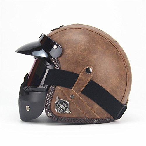 Pu-Leder Harley Helme 3/4 Motorrad Chopper Fahrradhelm Offenes Gesicht Vintage Motorrad Helm mit Maske Old Brown 2 L (Asiatisch Gesicht Produkte)