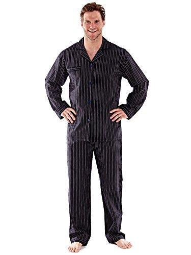 Herren Poly Baumwolle Pyjama, Nachthemd, Shorts Schlafanzug, Kleider, schwarz/rot Schwarz / Rot-Streifen Pyjamas