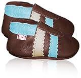 *BEIGE-HELLBLAU* Krabbelschuhe / Lauflernschuhe / Softlederschuhe / Babyschuhe von Filii in braun mit beige/hellblauen Streifen: Gr.20