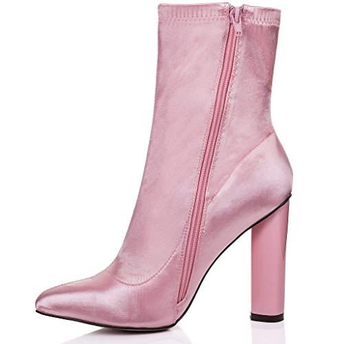 e63bfb8e970738 ... SPYLOVEBUY RHINO Femmes à Talon Bloc Bottines Chaussures Rose -  Synthétique Satin Lycra ...