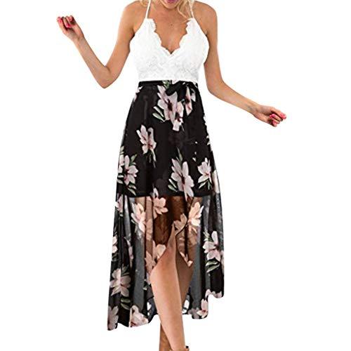 AZZRA Frauen Ärmellos Feste Sling Spitze Unregelmäßige Gabel Open in Druck Blumen Langes Kleid langes Kleid a-Linie Abendkleid schulterfrei Schulterfreies cocktailkleid (50 Haustiere In Kostüme)