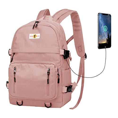 Rucksack Schultasche Mädchen Jungen Schulrucksack Laptop Daypacks Unisex Reiserucksack mit USB für Damen Herren(Rosa,pk)