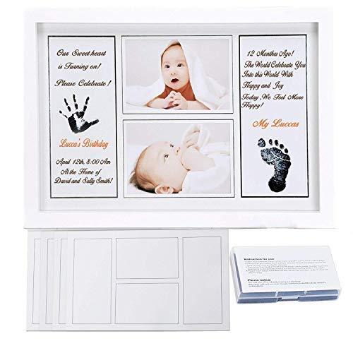 Baby Handabdruck und Fußabdruck Rahmen Set, Cymax 17 Zoll Baby Bilderrahmen mit schadstofffreier Tinte - Geschenk zur Geburt oder zur Taufe