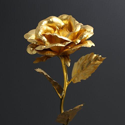 PIXNOR Blattgold Rose mit Acryl Herz förmigen Standfuß, Valentinstag Geschenk ,Hochzeitsgeschenk ,Mutter Tag Geschenk Geburtstag Geschenk Geburtstagsgeschenk (Gold)