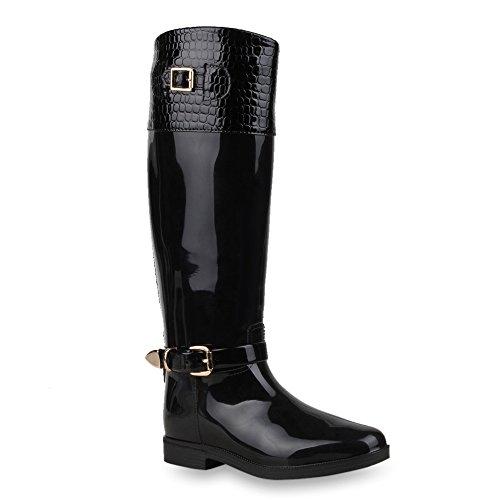 Damen Stiefel Gummistiefel Boots Gesteppte Regenschuhe Wasserdicht Schwarz Lack