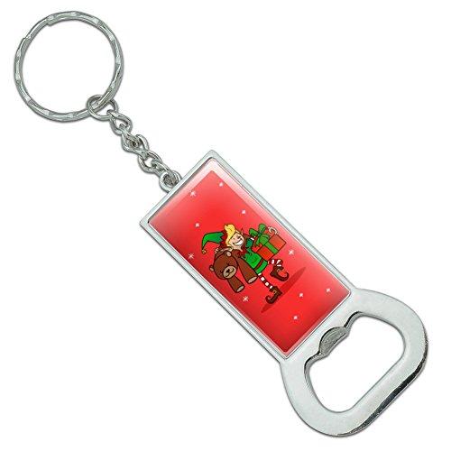 Graph & More Schlüsselanhänger mit Weihnachts-Elfe mit Geschenken und Geschenken, rechteckig, verchromtes Metall