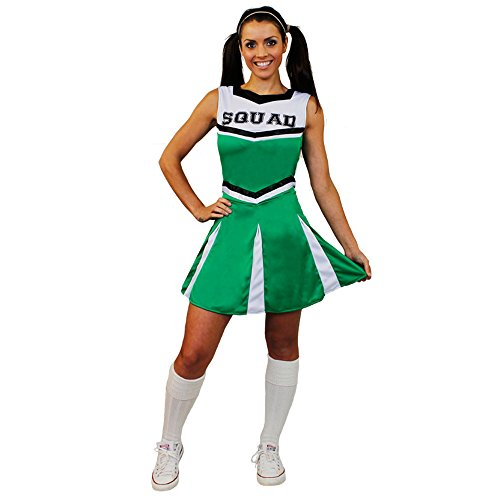 ILOVEFANCYDRESS I love Fancy Dress ilfd4058 m Damen Cheerleader Fancy Kleid Kostüm mit Squad Print und Faltenrock (mittel)
