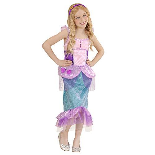 Widmann 02237 - Kinderkostüm Nixe Kleid, Haarband mit Seestern, Größe 140, Mehrfarbig