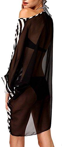 ... wennikids Damen Sexy oversized Streifen Strand Bikini Badebekleidung  Cover-Up schwarze streifen 51d966f0a8
