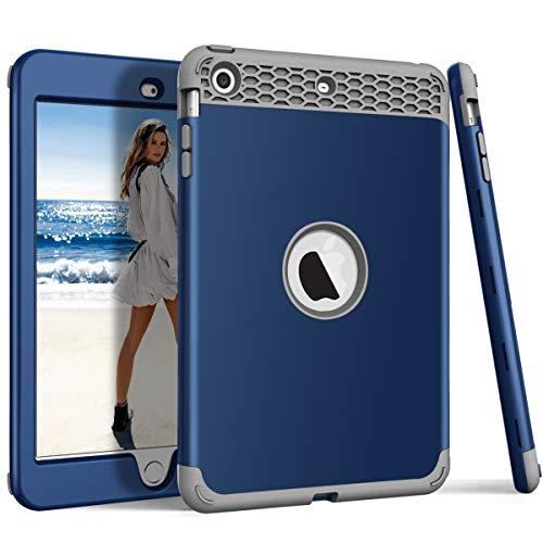 iPad Mini Hülle, iPad Mini 2, iPad Mini 3, ZERMU 3-in-1, strapazierfähig, stoßfest, Hartplastik-Hülle + stoßfeste Silikon-Gummi-Schutzhülle für iPad Mini 1/2/3, Navy-Gray (Griffin Case Survivor Ipad 4)