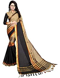 132da135b7 Indian Handicrfats Export Woven Kanjivaram Cotton Saree (Black)