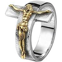 Oyamihin Joyería Exquisita Decoración Moda Vintage Estilo Jesús Cruz Patrón Acero Inoxidable Duradero Individuo Hombres Anillo - Oro 10#