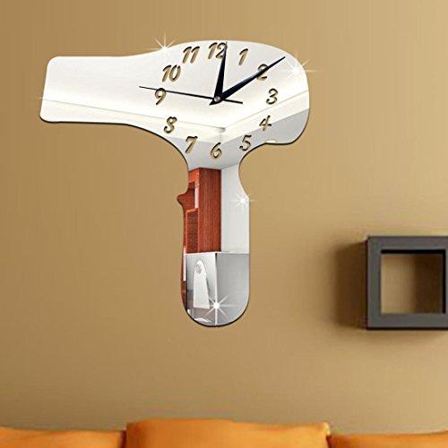 kingkor-hair-dryer-mirror-silver-wall-clock-modern-design-home-decor-watch-wall-sticker