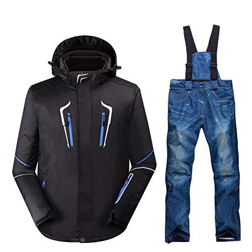 HXFNX -30 Conjunto De Traje De Esquí para Hombre Kits De Snowboard Al Aire Libre Impermeable Chaqueta De Ropa De Invierno A Prueba De Viento para Clima Nevado + Pantalones con Baberos,A1