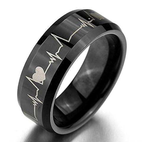 Epinki,Men's Wide 8mm Tungsten Rings Bands Black Heart Valentine Promise Wedding Engagement Size P 1/2
