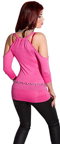 Instyle - T-shirt - Uni - Col ras du cou - Manches 3/4 - Femme Rose