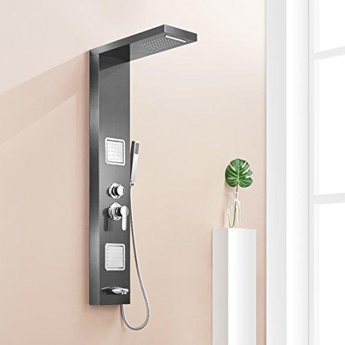 JERUI Plafond de douche de pluie de salle de bains pluie nickel brossé avec le système de massage de corps Robinet avec des jets ensemble de Colonne de douche de main en acier inoxydable, B