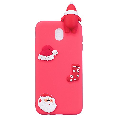 Galaxy J3 2017 Etui, Galaxy J3 2017 Silicone Slim Cover, Saincat Housse Pour Samsung Galaxy J3 2017 Silicone Soft 3d Housse, Shock-absorption Ultra Slim Silicone Case Ultra Mince Soft G Santa Claus Rouge