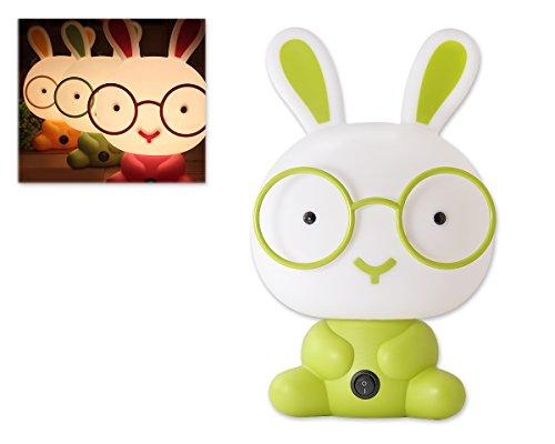 Lovely Niedlichen Cartoon-Licht LED-Nachtlicht USB Wiederaufladbaren Energiesparlampen kleine Tischlampe kreative Kaninchen Lampe Säuglingsernährung Baby-Schlafzimmer Nachttischlampe Schreibtisch Lampen Licht Schlummerleuchten für Kinder LED nachttischlampen für schlafzimmer,grün, schönes Geschenk