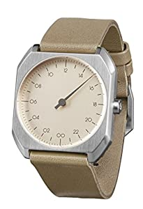 Slow Mo 09 - Reloj suizo unisex de 24 horas, con suave correa de cuero, color beige plateado de slow