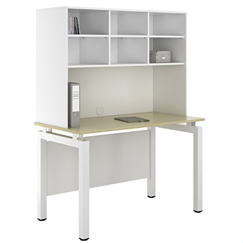UCLIC Kit Out My Office Bench Desk Cupboard with Open Upper Storage, Metal, Maple, 1200 mm