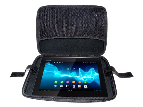 Navitech Custodia rigida nera Onyx in EVA chiusura a zip per i dispositivi con schermo fino a 11 pollici, compresi: bModo 12 11.6 in (29 cm), Meebox Slate 11.6 in (29 cm), Prestigio MultiPad PMP7100C 10.1 in (26 cm), Sony Tablet S 9.4 in (24 cm) / Xperia Tablet S 9.4 in (24 cm), Toshiba Excite 10.1 in (26 cm) / AT305 10.1 in (26 cm) / Thrive 10.1 in (26 cm), ViewSonic ViewPad 10 10.1 in (26 cm).