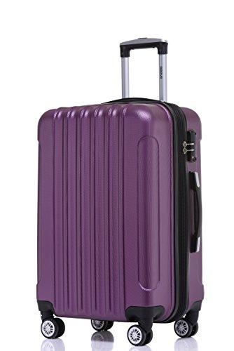 BEIBYE BEIBYE Zwillingsrollen 2050 Hartschale Trolley Koffer Reisekoffer in M-L-XL-Set in 12 Farben (Violett, Großer Koffer (76 cm)+TSA Schloß)