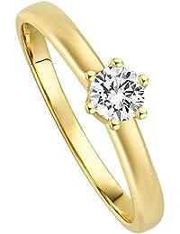 Juwelier Gelber Diamant Ring Filigrane Fassung 0.25ct Brillant Schliff Lupenrein 585 14 Kt Gold