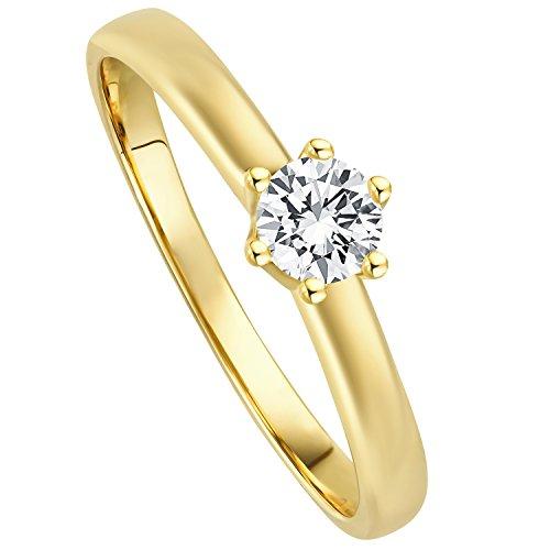 Juwelier Gelber Diamant Ring Filigrane Fassung 0.20ct Brillant Schliff Lupenrein 585 14 Kt Gold (52...