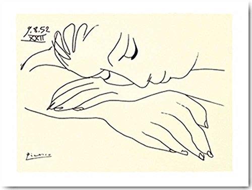 Art-Galerie Bild mit Rahmen - Pablo Picasso - Sleeping Woman - 123x91cm - Aluminium schwarz matt - UV Schutzfolie - Premiumqualität - Klassiker - Siebdruck auf Büttenpapier - Made IN Germany Shop