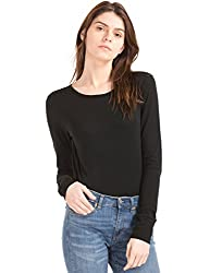 GAP Womens Long Sleeve Crewneck Feather T-Shirt (46538513705_True Black_M)